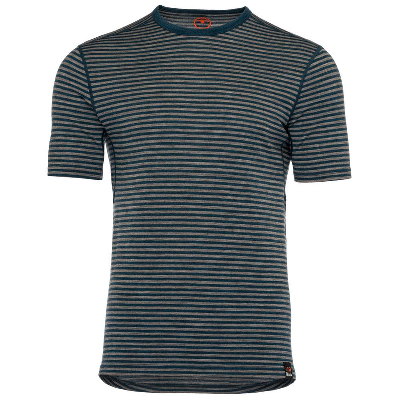 Mens Merino 150 Short Sleeve Crew (Stripe Petrol/Charcoal)