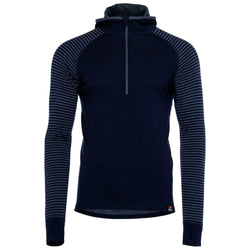 Mens Merino 200 Zip Neck Hoodie (Stripe Navy/Denim)