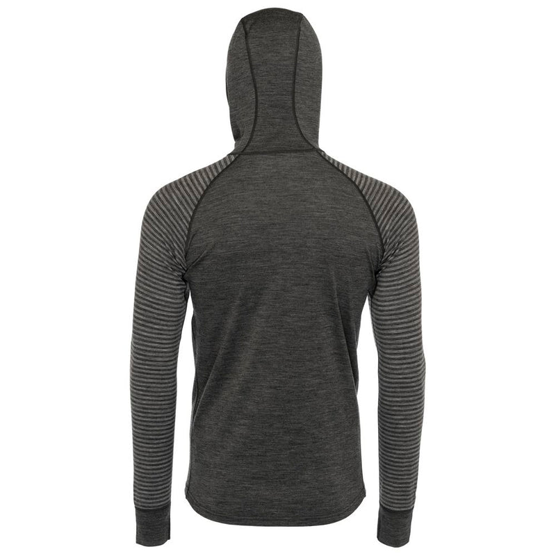 Mens Merino 200 Zip Neck Hoodie (Stripe Smoke/Charcoal)