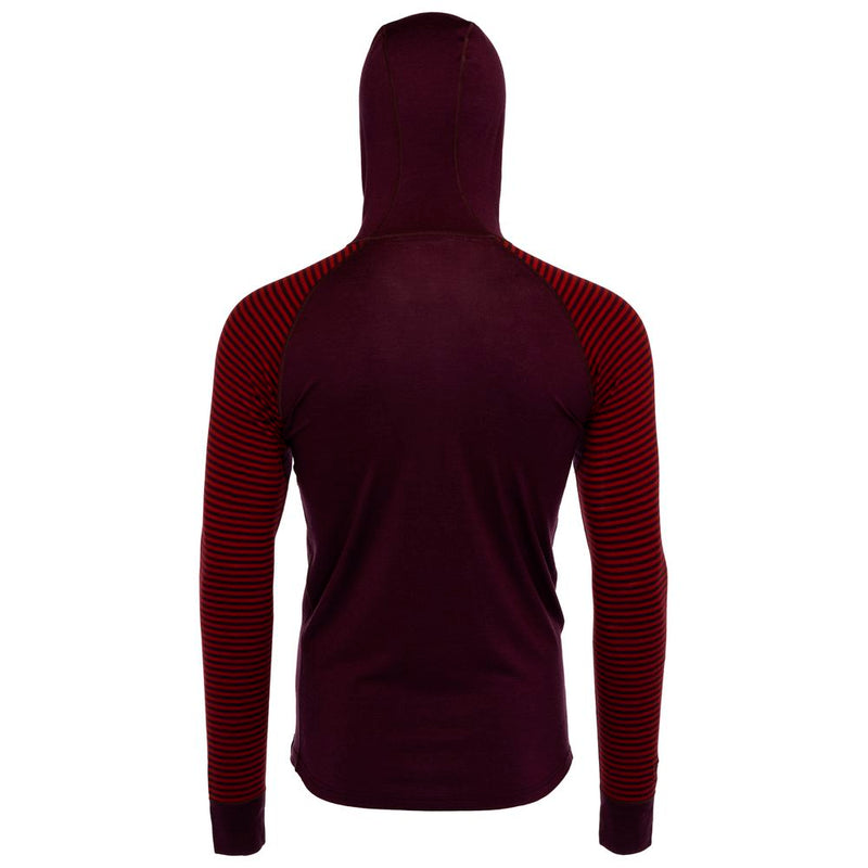 Mens Merino 200 Zip Neck Hoodie (Stripe Wine/Red)