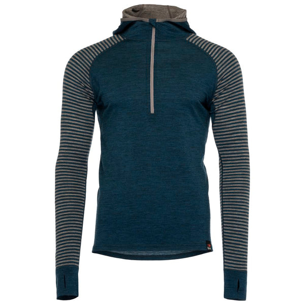 Mens Merino 200 Zip Neck Hoodie (Stripe Petrol/Charcoal)
