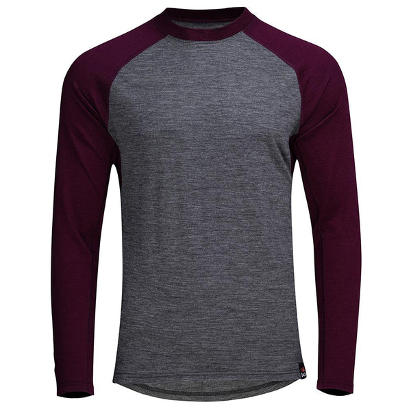 Isobaa Mens Merino 180 Baseball Crew (Smoke/Wine)