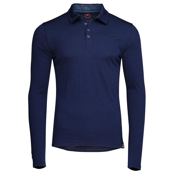 Isobaa Mens Merino 200 Long Sleeve Polo Shirt (Navy/Denim)