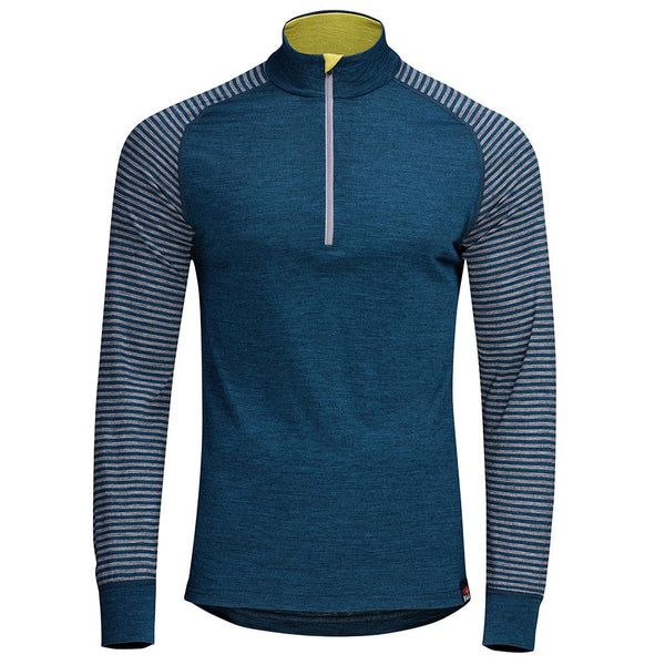 Isobaa Mens Merino 200 Long Sleeve Zip Neck (Petrol/Charcoal)