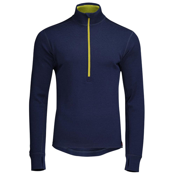 Isobaa Mens Merino 320 Long Sleeve Half Zip (Navy/Lime)