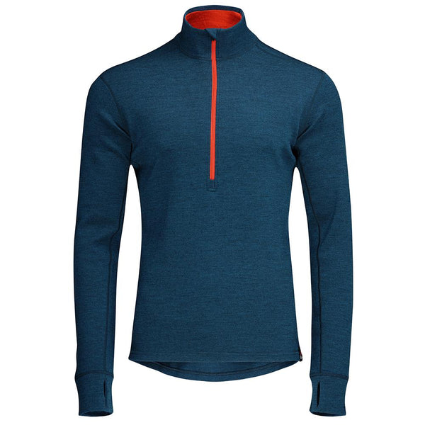 Isobaa Mens Merino 320 Long Sleeve Half Zip (Petrol/Orange)