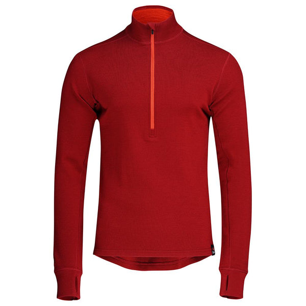 Isobaa Mens Merino 320 Long Sleeve Half Zip (Red/Orange)
