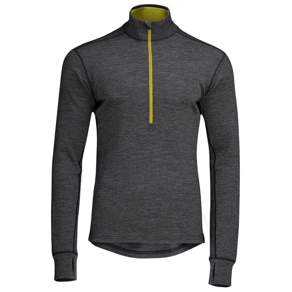 Isobaa Mens Merino 320 Long Sleeve Half Zip (Smoke/Lime)