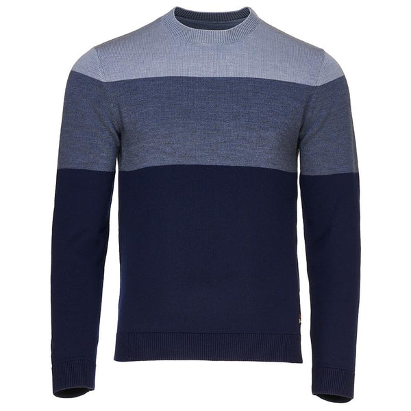 Isobaa Mens Merino Block Stripe Sweater (Navy/Denim/Sky)