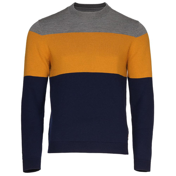 Isobaa Mens Merino Block Stripe Sweater (Navy/Mustard/Charcoal)