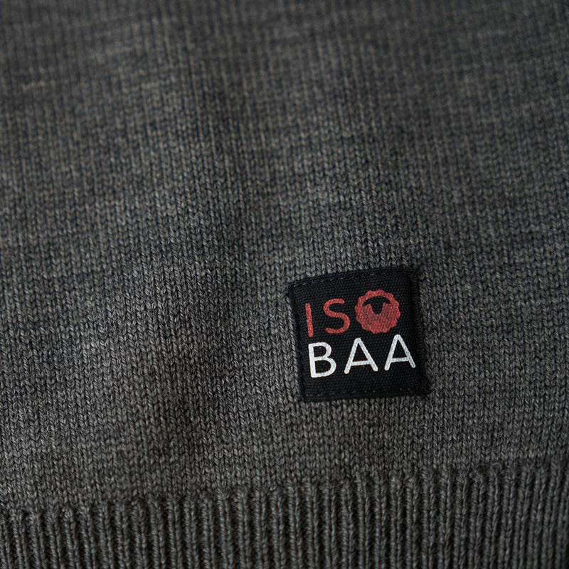 Isobaa Mens Merino Block Stripe Sweater (Smoke/Grey/Charcoal)