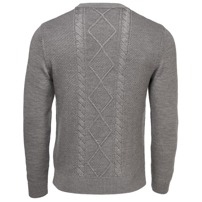 Isobaa Mens Merino Cable Sweater (Charcoal)