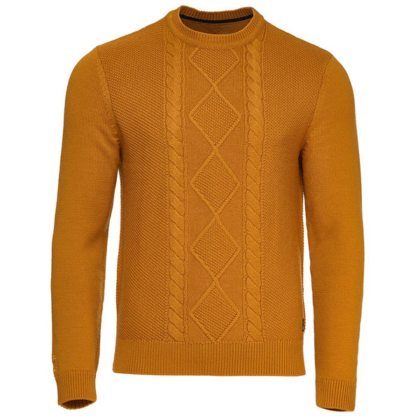 Isobaa Mens Merino Cable Sweater (Mustard)