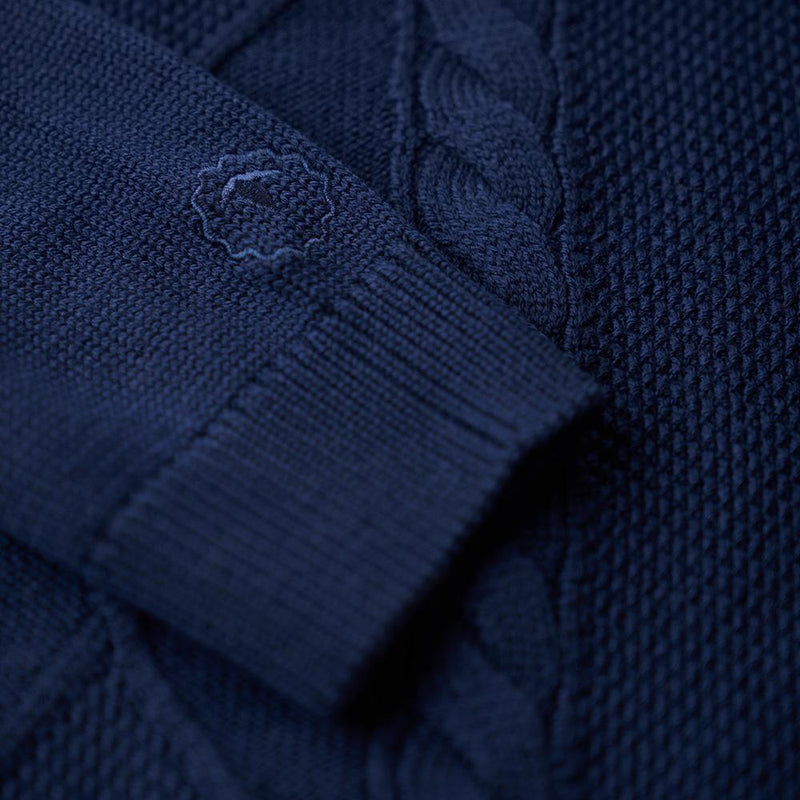 Isobaa Mens Merino Cable Sweater (Navy)