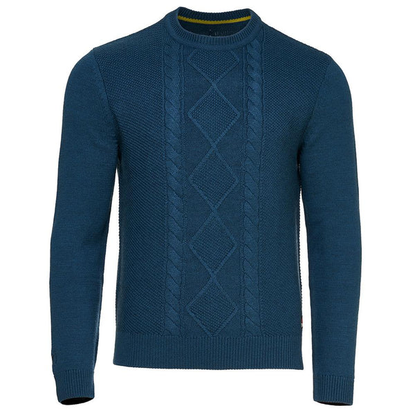 Isobaa Mens Merino Cable Sweater (Petrol)