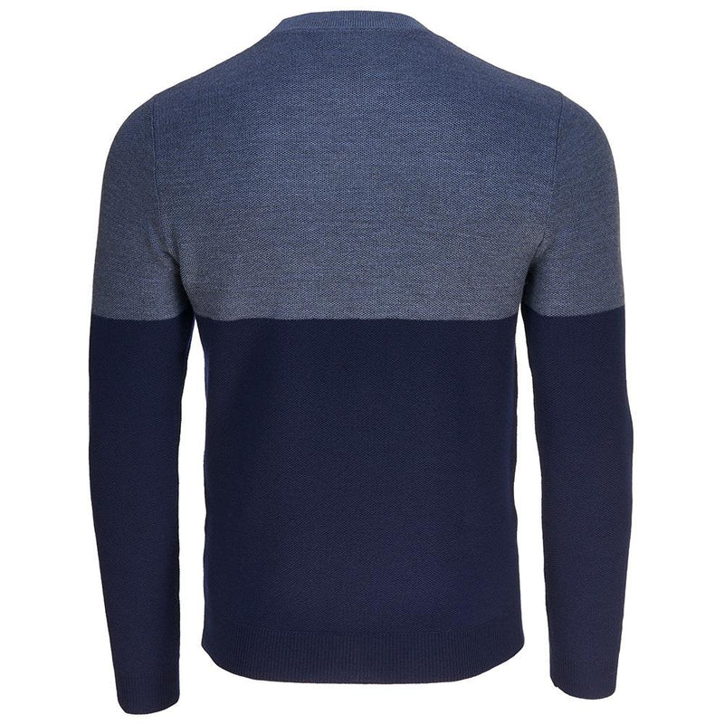 Isobaa Mens Merino Honeycomb Sweater (Navy/Denim)