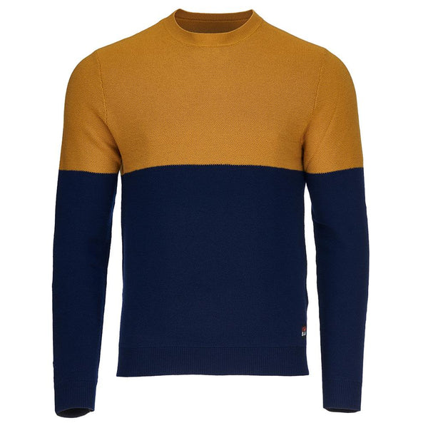 Isobaa Mens Merino Honeycomb Sweater (Navy/Mustard)