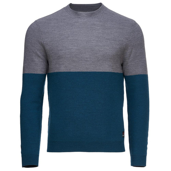 Isobaa Mens Merino Honeycomb Sweater (Petrol/Charcoal)