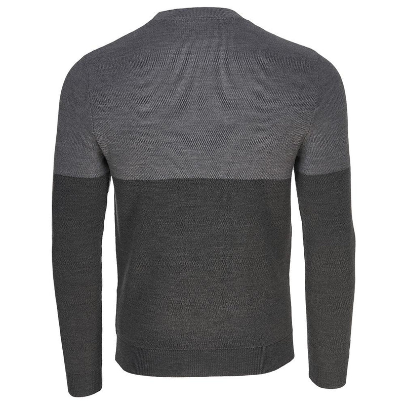 Isobaa Mens Merino Honeycomb Sweater (Smoke/Charcoal)