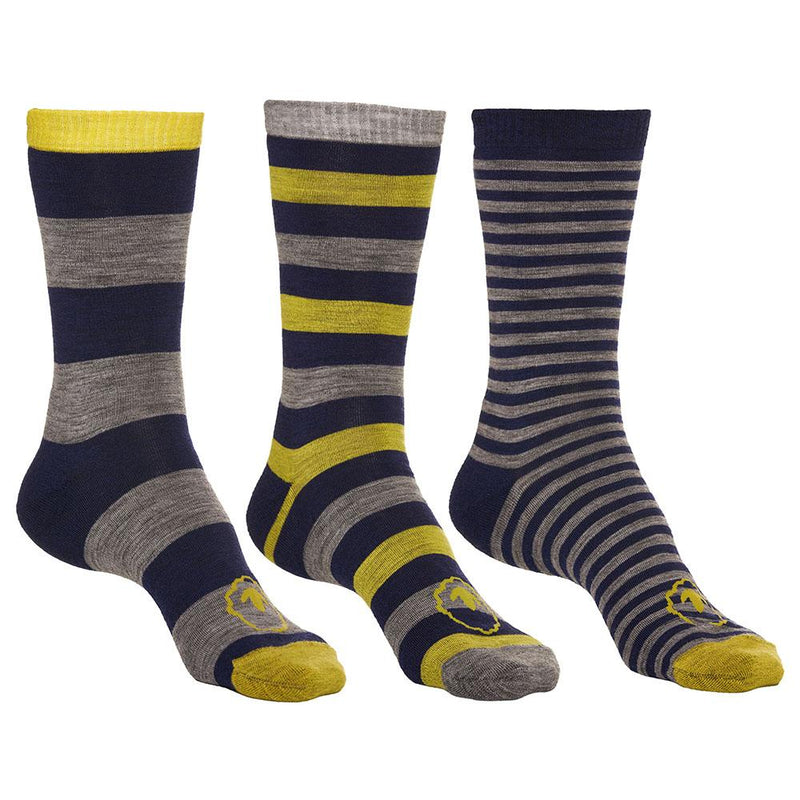 Isobaa Merino Blend Everyday Socks (3 Pack - Navy/Lime)