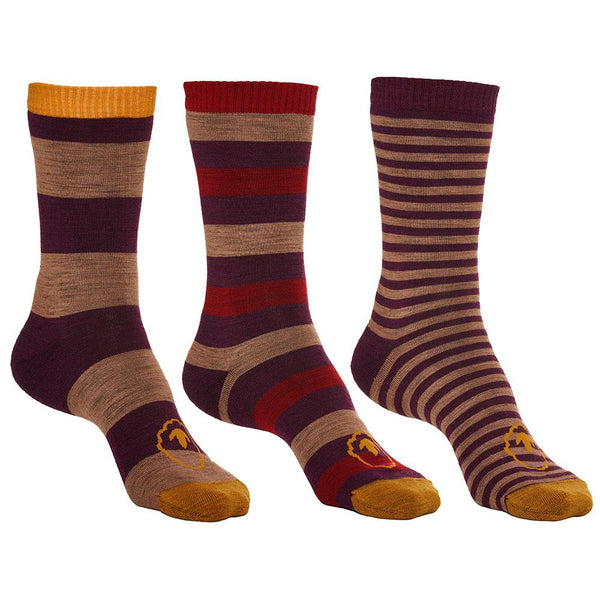 Isobaa Merino Blend Everyday Socks (3 Pack - Wine/Red)