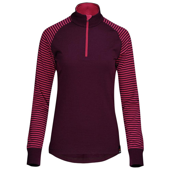 Isobaa Womens Merino 200 Long Sleeve Zip Neck (Wine/Fuchsia)