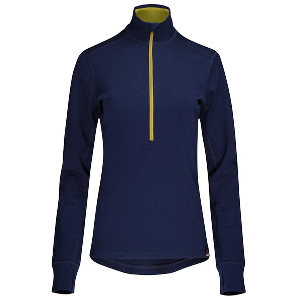 Isobaa Womens Merino 320 Long Sleeve Half Zip (Navy/Lime)