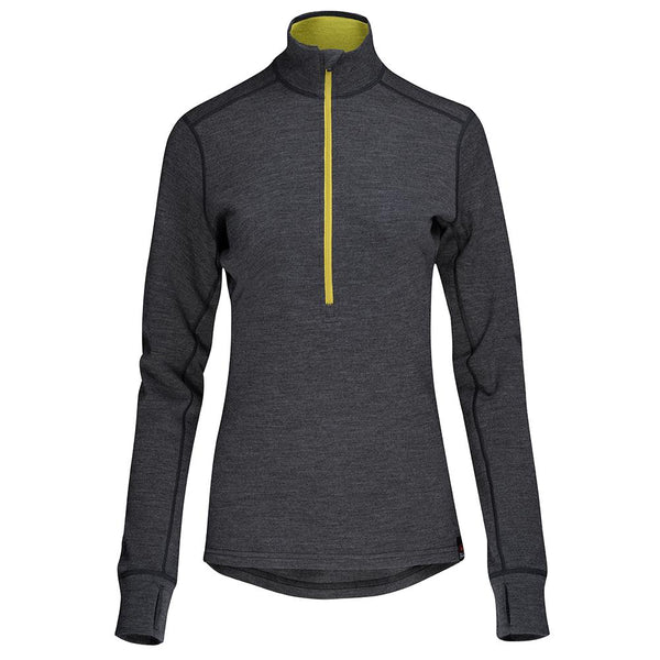 Isobaa Womens Merino 320 Long Sleeve Half Zip (Smoke/Lime)