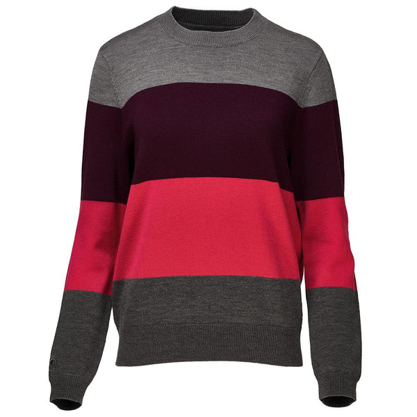 Isobaa Womens Merino Block Stripe Sweater (Charcoal/Wine/Fuchsia/Smoke)
