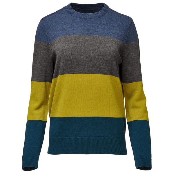 Isobaa Womens Merino Block Stripe Sweater (Denim/Smoke/Lime/Petrol)