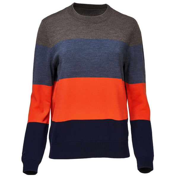 Isobaa Womens Merino Block Stripe Sweater (Smoke/Denim/Orange/Navy)