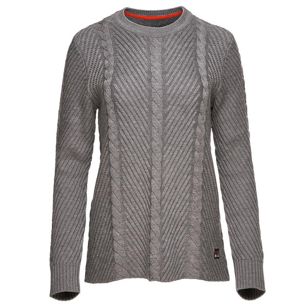 Isobaa Womens Merino Cable Sweater (Charcoal)