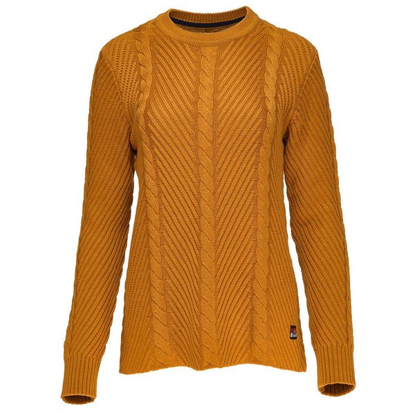 Isobaa Womens Merino Cable Sweater (Mustard)