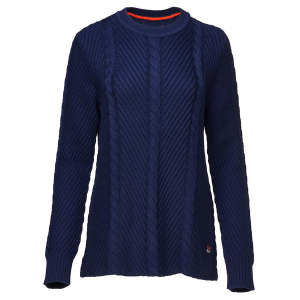 Isobaa Womens Merino Cable Sweater (Navy)