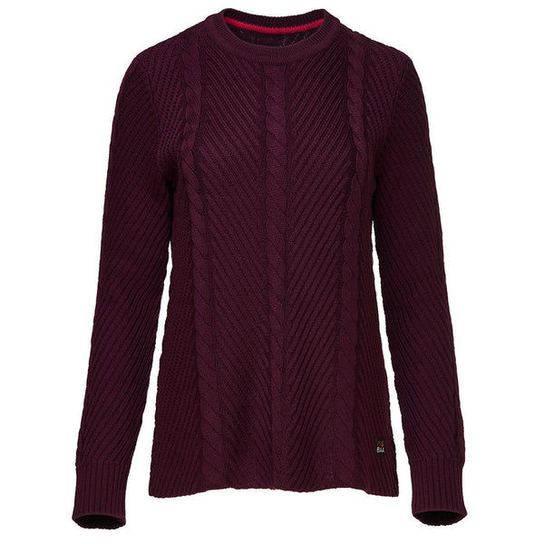 Isobaa Womens Merino Cable Sweater (Wine)