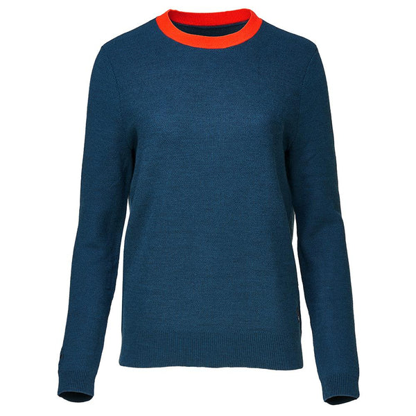 Isobaa Womens Merino Honeycomb Sweater (Petrol/Orange)