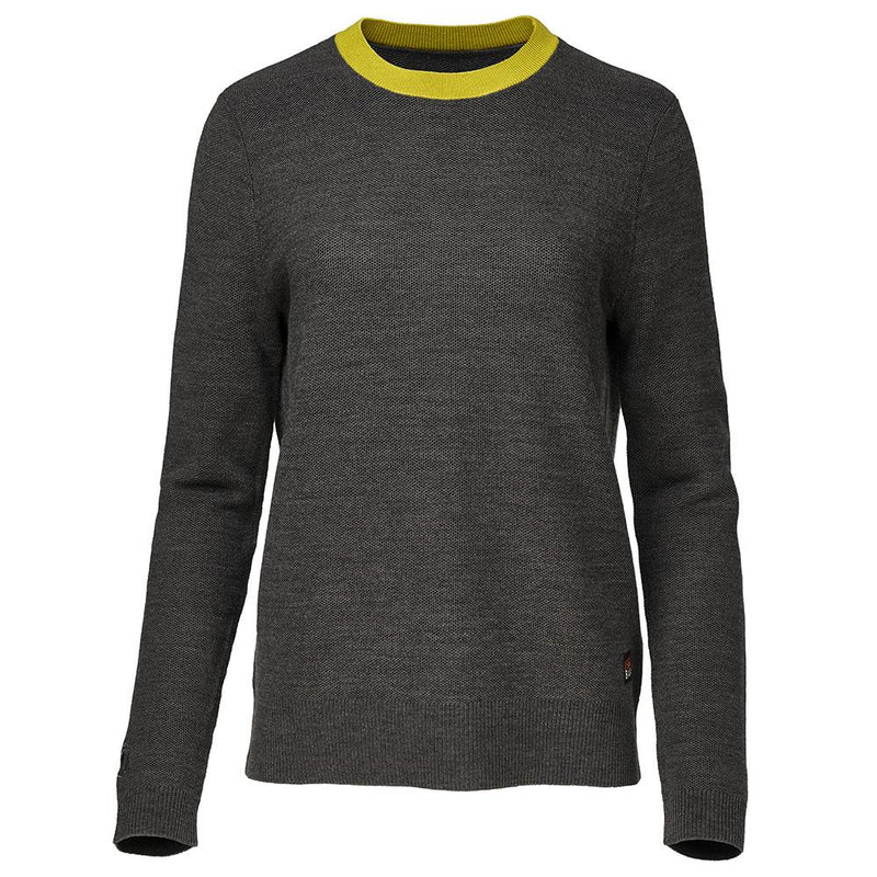 Isobaa Womens Merino Honeycomb Sweater (Smoke/Lime)