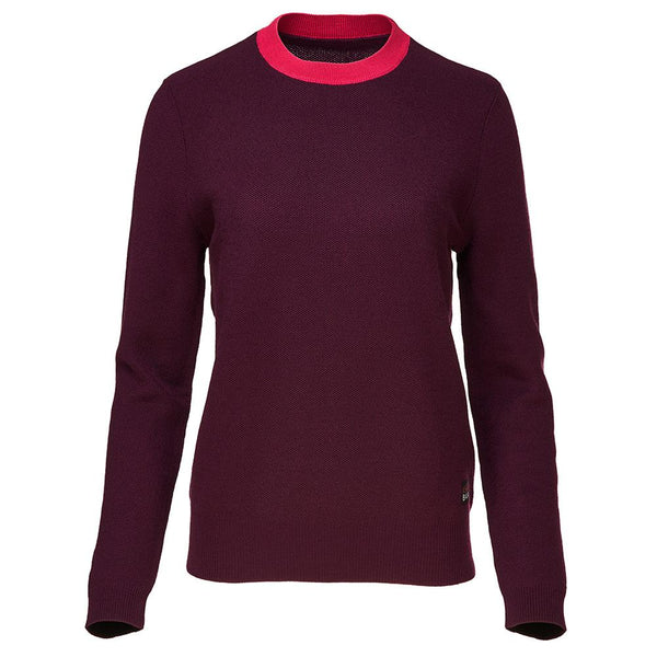 Isobaa Womens Merino Honeycomb Sweater (Wine/Fuchsia)