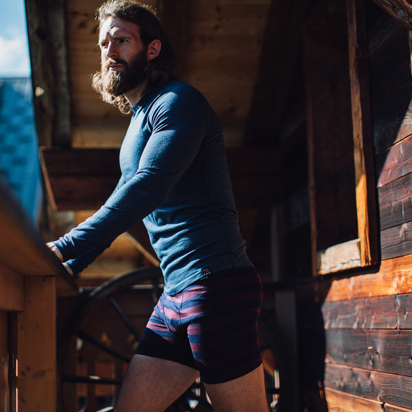 Mens Merino 180 Boxers (Navy/Wine)