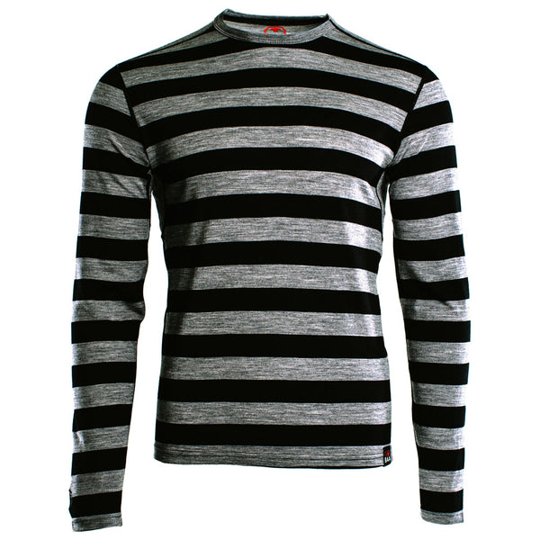 Mens Merino 180 Long Sleeve Crew (Black/Charcoal)
