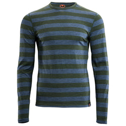 Mens Merino 180 Long Sleeve Crew (Forest/Denim)