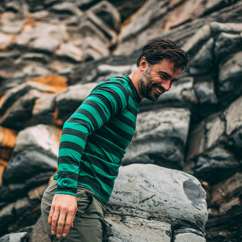 Mens Merino 180 Long Sleeve Crew (Forest/Green)