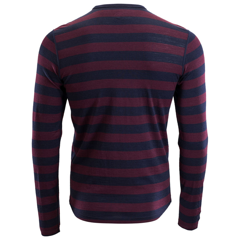 Mens Merino 180 Long Sleeve Crew (Navy/Wine)