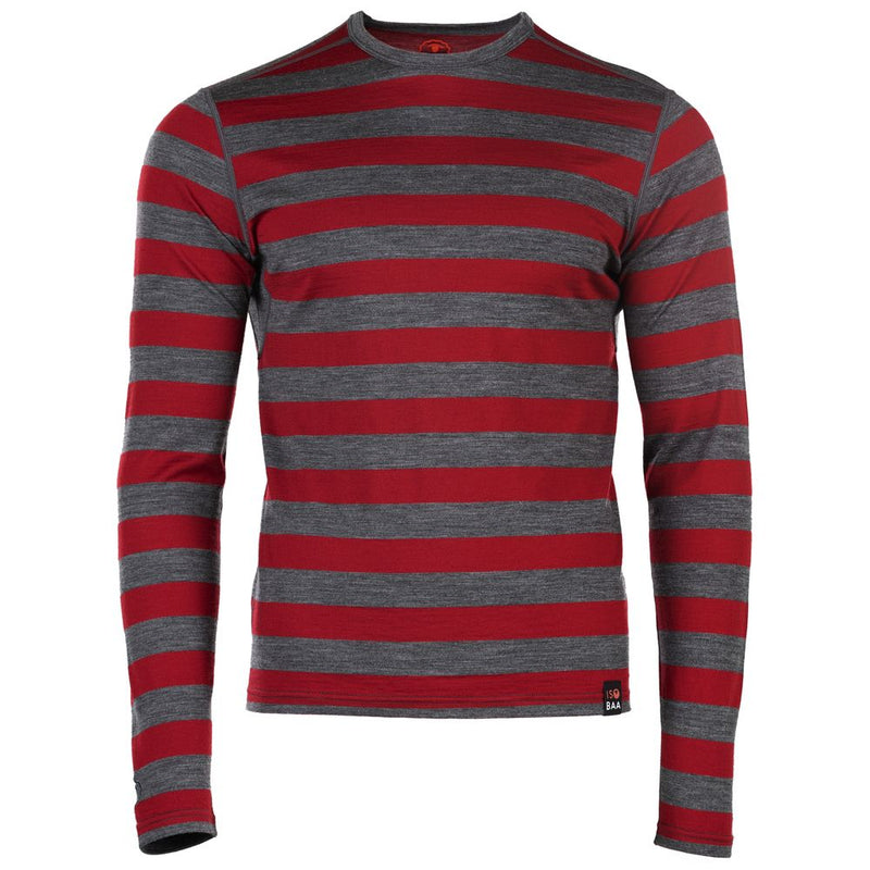 Mens Merino 180 Long Sleeve Crew (Smoke/Red)