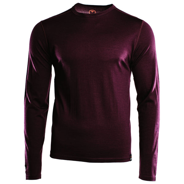 Mens Merino 180 Long Sleeve Crew (Wine)