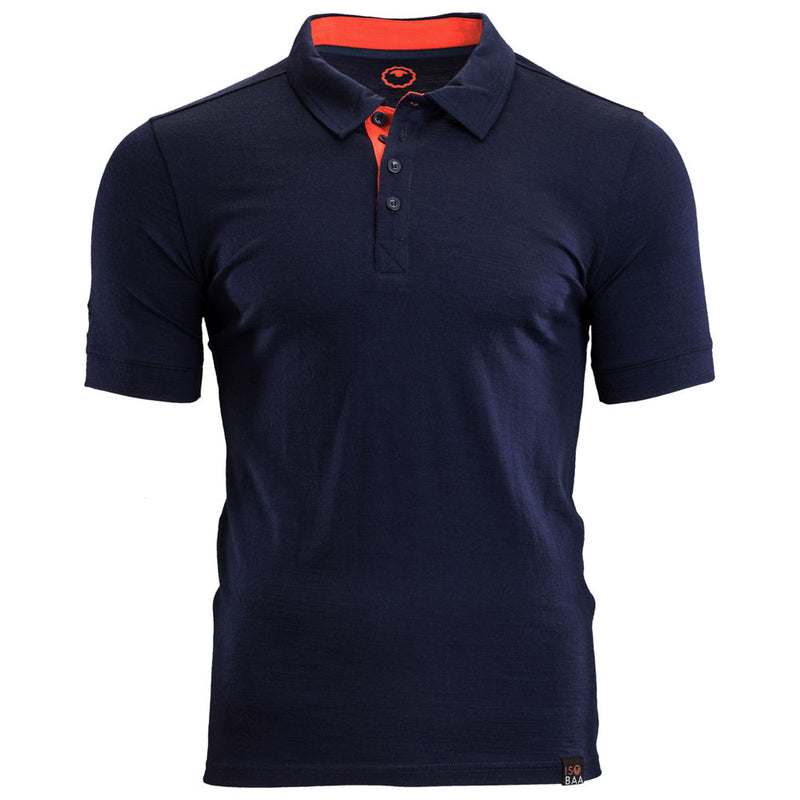 Mens Merino 180 Short Sleeve Polo Shirt (Navy)