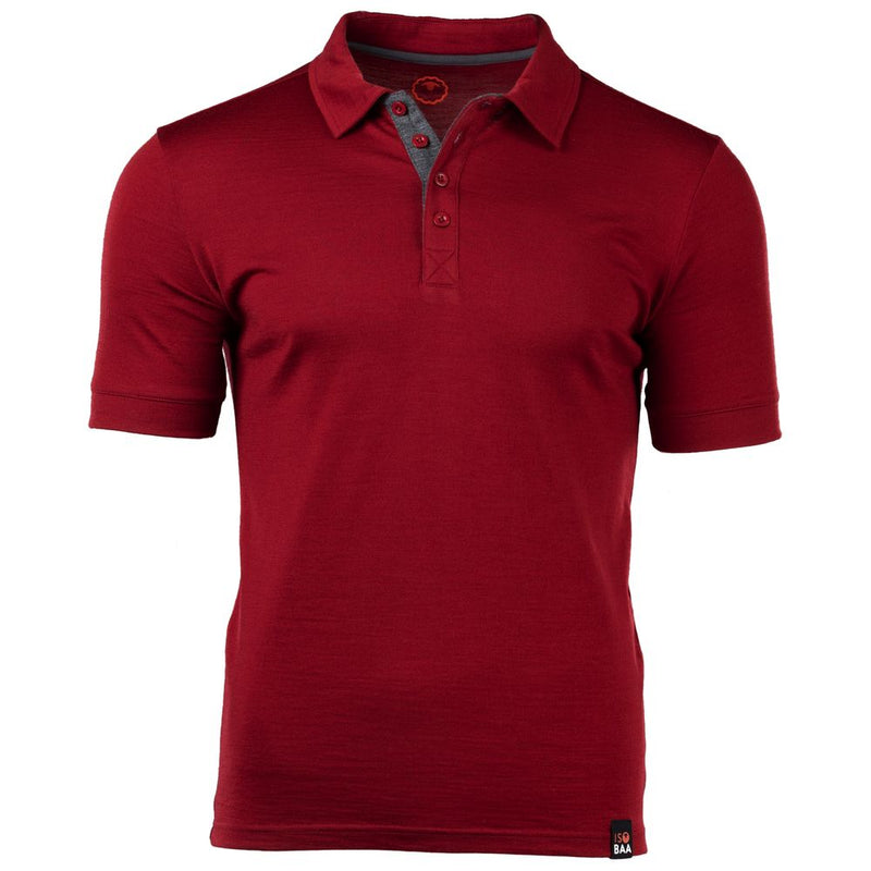 Mens Merino 180 Short Sleeve Polo Shirt (Red)