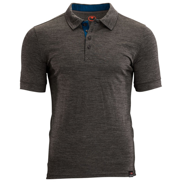 Mens Merino 180 Short Sleeve Polo Shirt (Smoke)