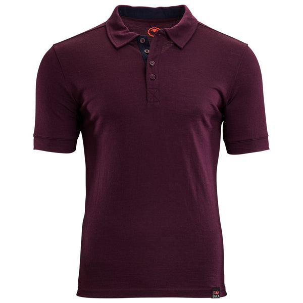 Mens Merino 180 Short Sleeve Polo Shirt (Wine)