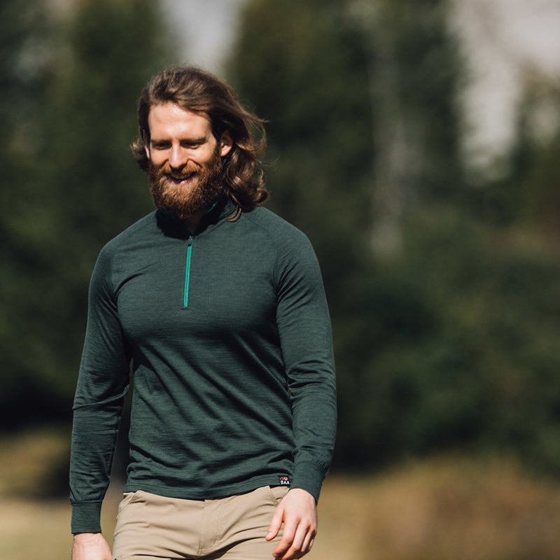 Mens Merino 200 Long Sleeve Zip Neck (Forest)